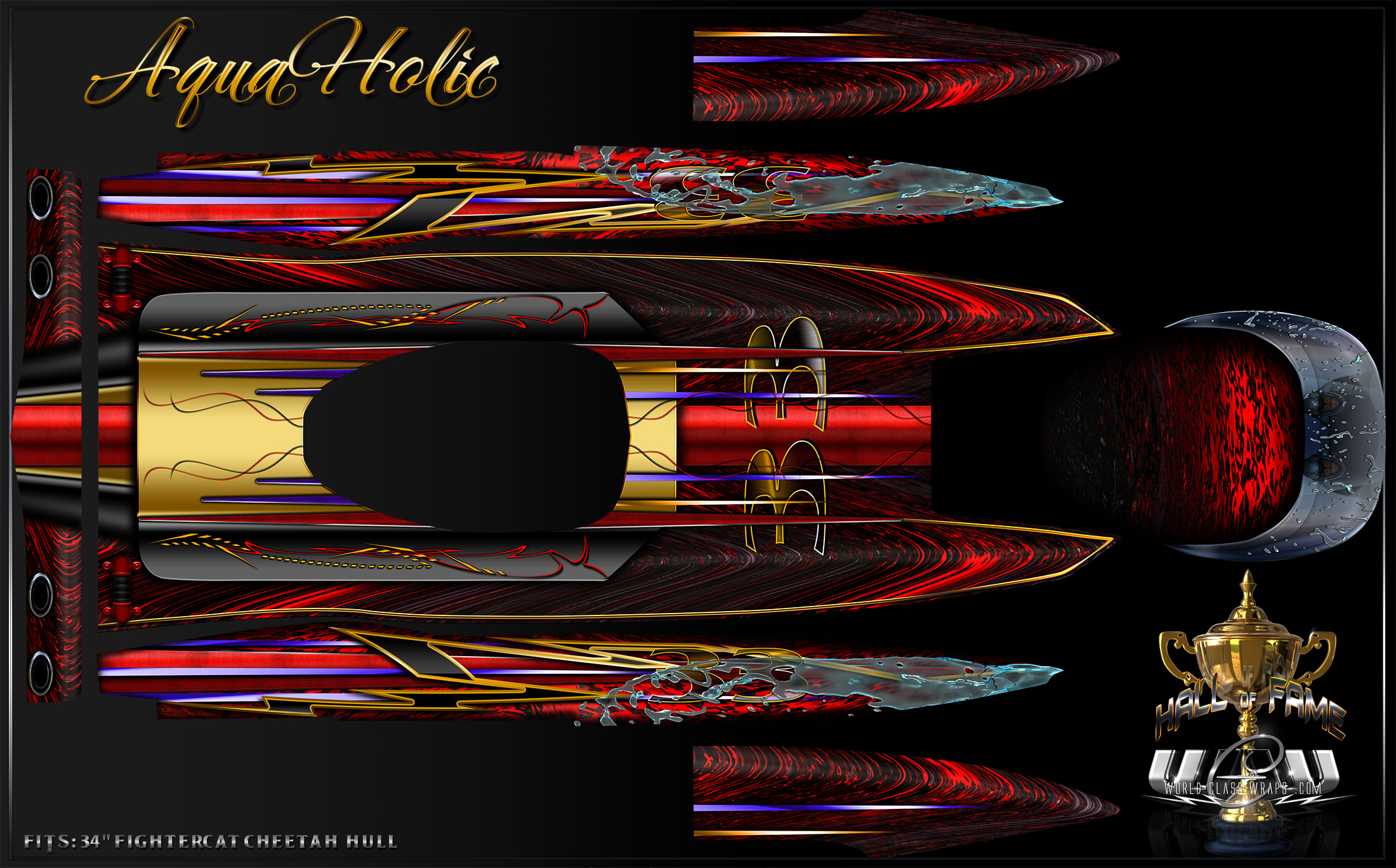 Custom Aquaholic Graphics For  Inch Fightercat Cheetah Rc Hull - Vinyl stickers for rc boats