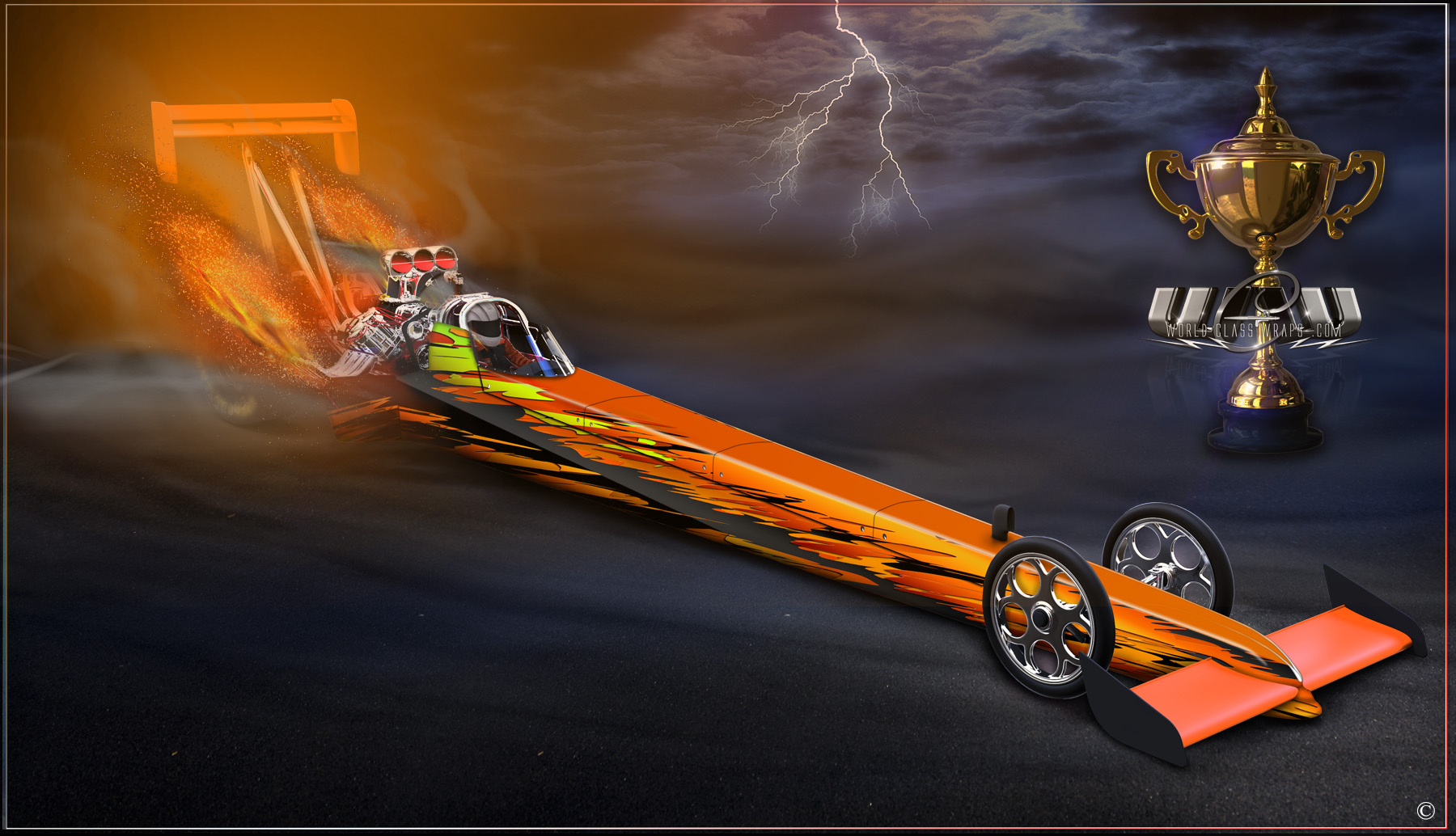 alcihol burning dragster graphics