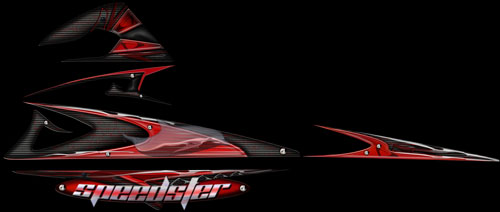 Carbon Fiber boat graphics red